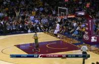 LeBron James with breakaway reverse dunk