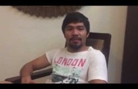 Manny Pacquiao speaks after announcing the Floyd Mayweather fight