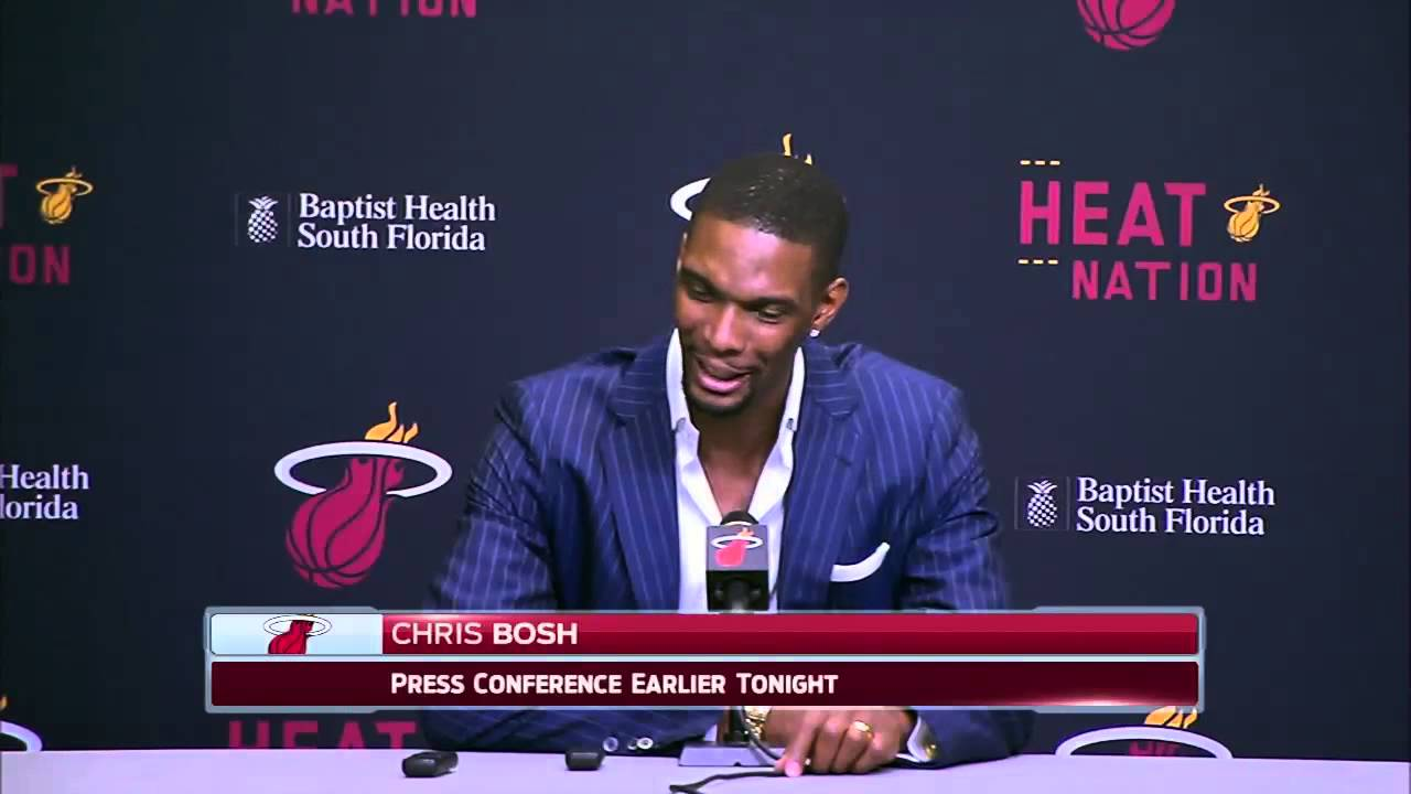 Chris Bosh speaks to the media about his season ending blood clots