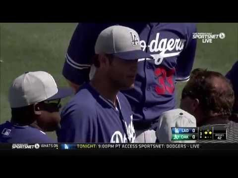 Clayton Kershaw hit in face by comebacker