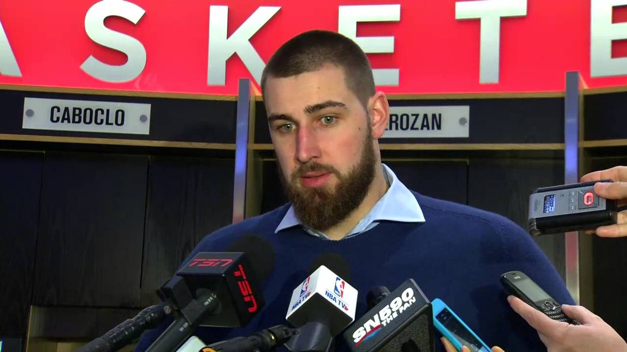 Jonas Valanciunas speaks to the media about LeBron James foul