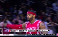 Josh Smith tells the Atlanta crowd to be quiet after hitting shot