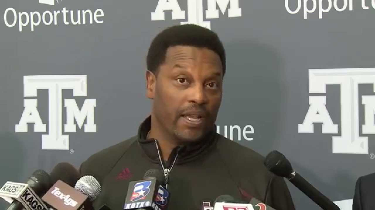 Kevin Sumlin speaks to the media for Texas A&M Pro Day 2015