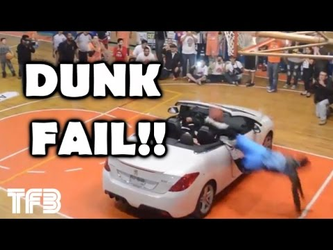 Lloyd Hickinson fails dunk over a car in the Golden Chihuahua All-Star Game