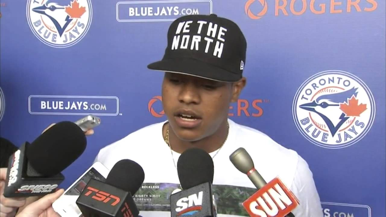 Marcus Stroman speaks to the media about tearing his ACL