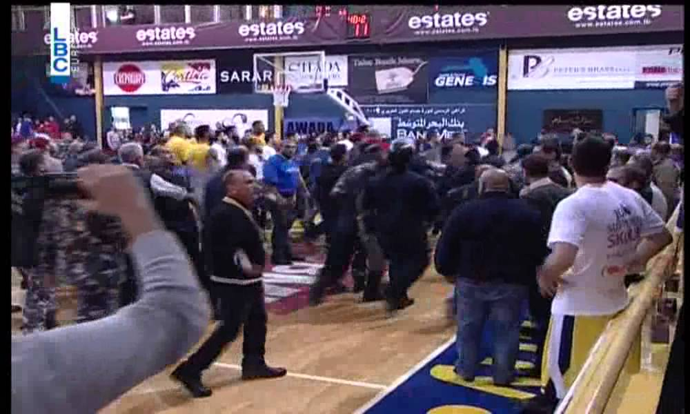 Massive brawl on the court during Lebanese basketball Championship