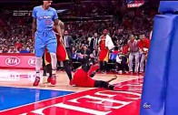 Matt Barnes fouls & throws James Harden to the floor