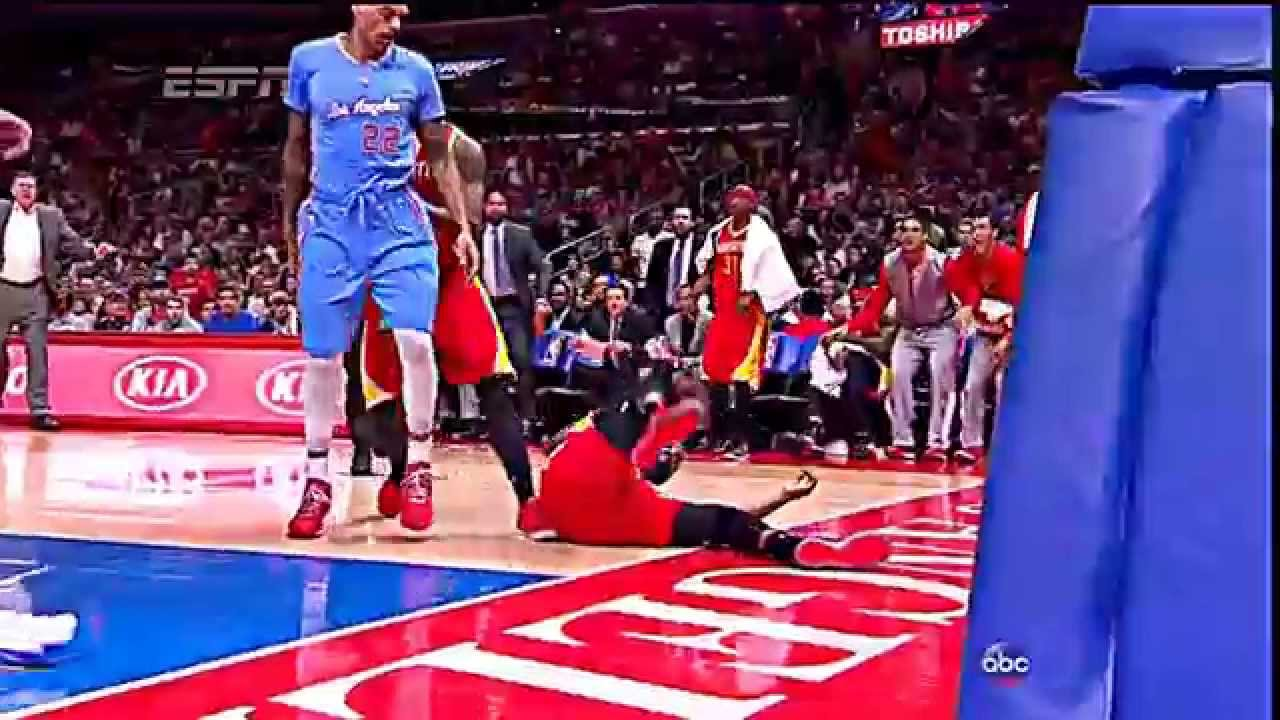 Matt Barnes fouls & throws James Harden to the floor