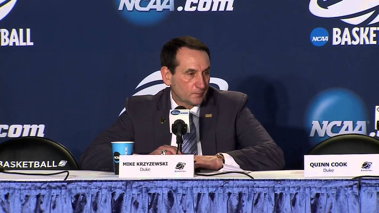 Mike Krzyzewski & Duke players speak to the media following route of Robert Morris