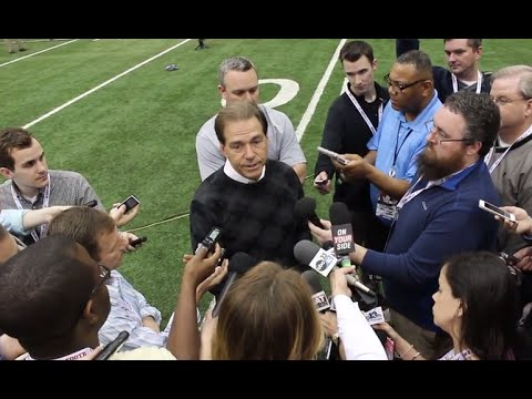 Nick Saban speaks at Alabama's Pro Day