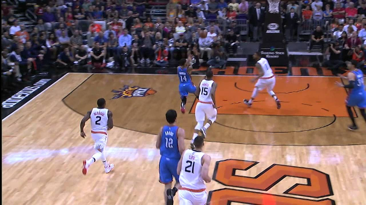 Russell Westbrook out jumps everyone for alley-oop finish