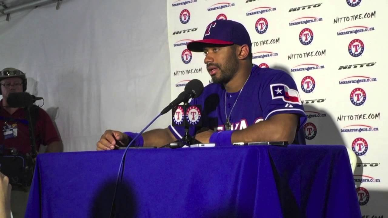 Russell Wilson press conference with the Texas Rangers
