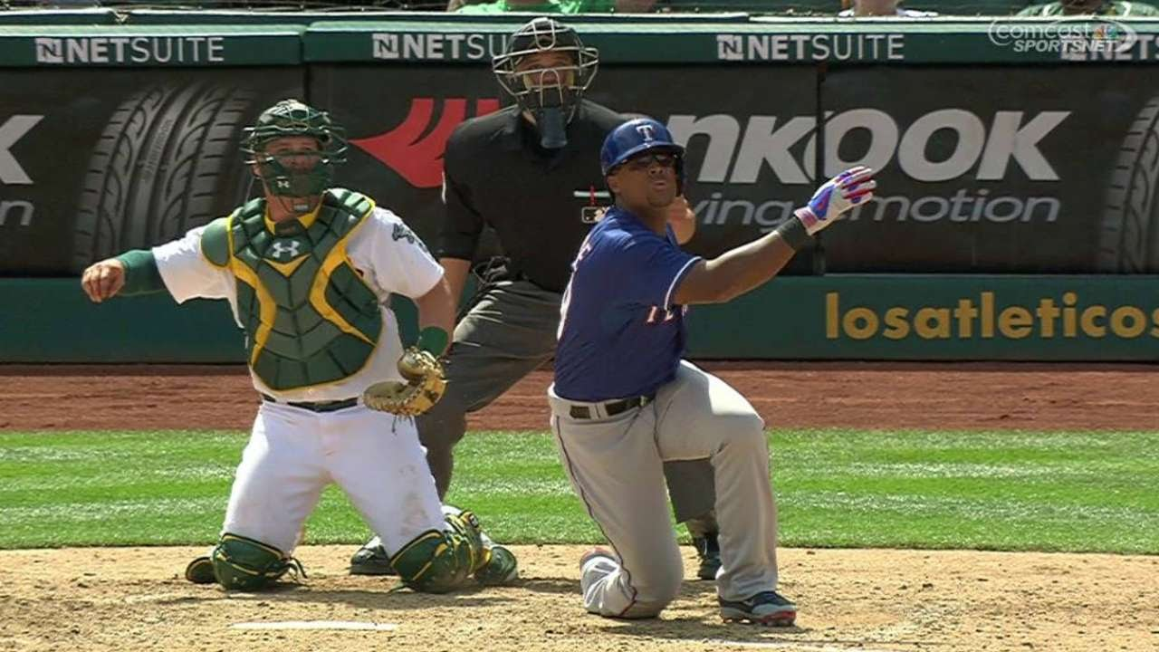 Adrian Beltre misses badly & knee golfs the next pitch out of the park