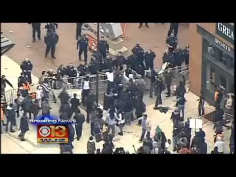 Baltimore protesters clash with police at Camden Yards