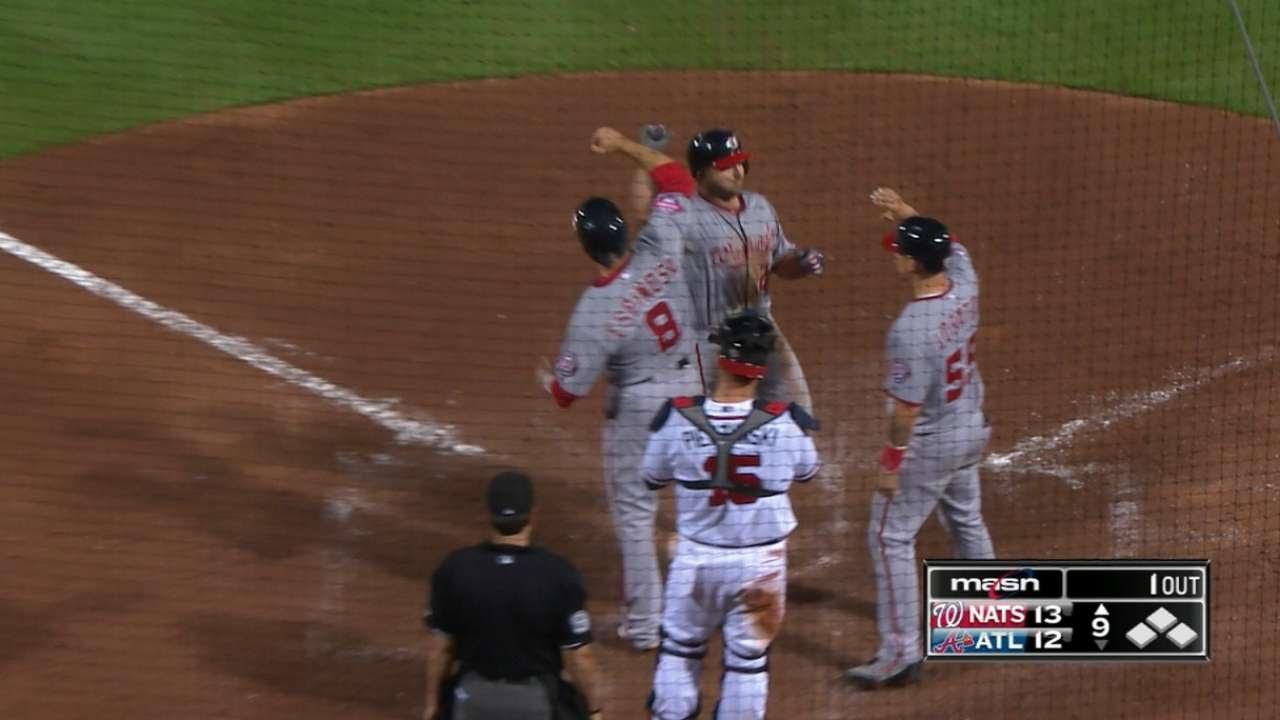 Dan Uggla crushes a three-run home run to deep left to mount comeback
