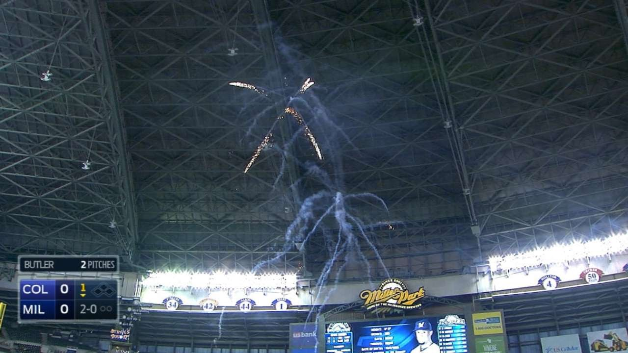 Fireworks go off during Carlos Gomez at bat