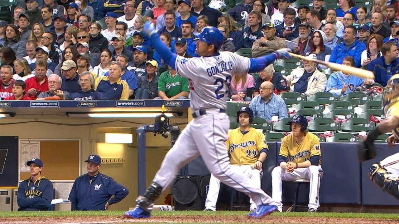 Adrian Gonzalez crushes a two-run homer to center off of scoreboard