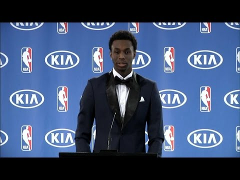 Andrew Wiggins press conference for NBA rookie of the year