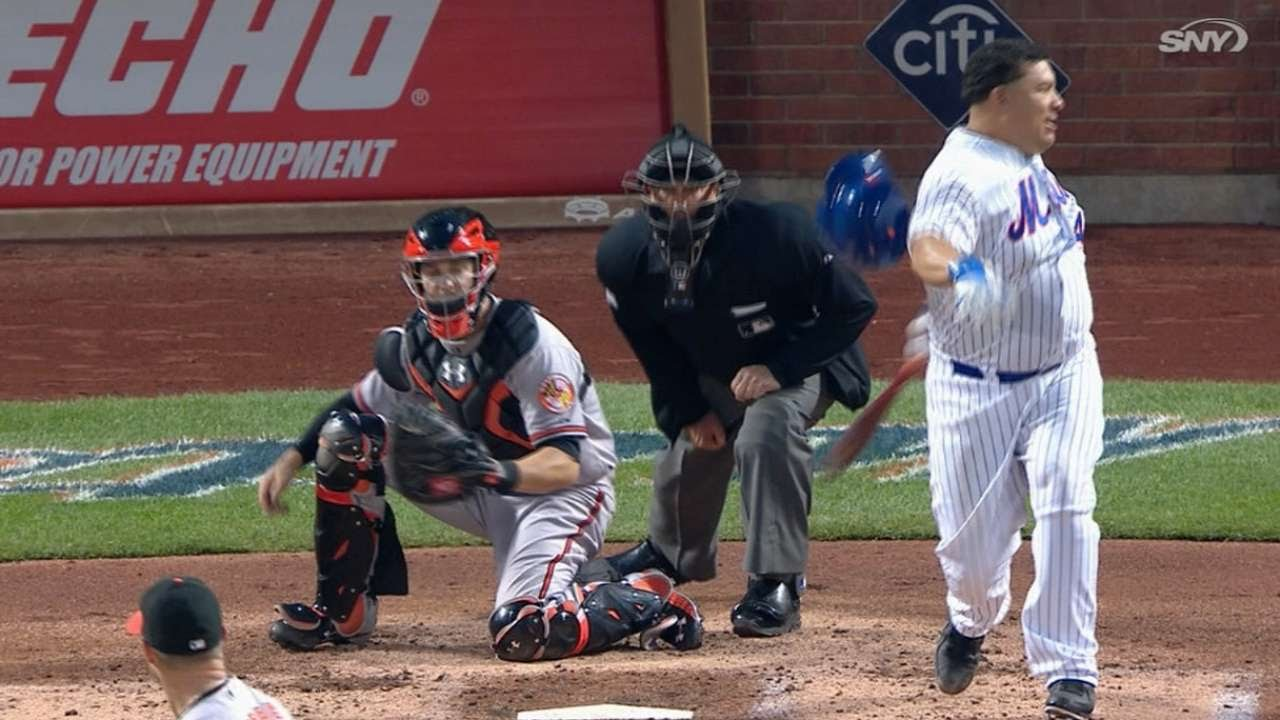 Bartolo Colon misses ball & hits helmet on strikeout