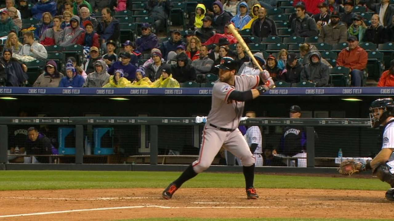Brandon Belt homers into the 3rd deck at Coors Field