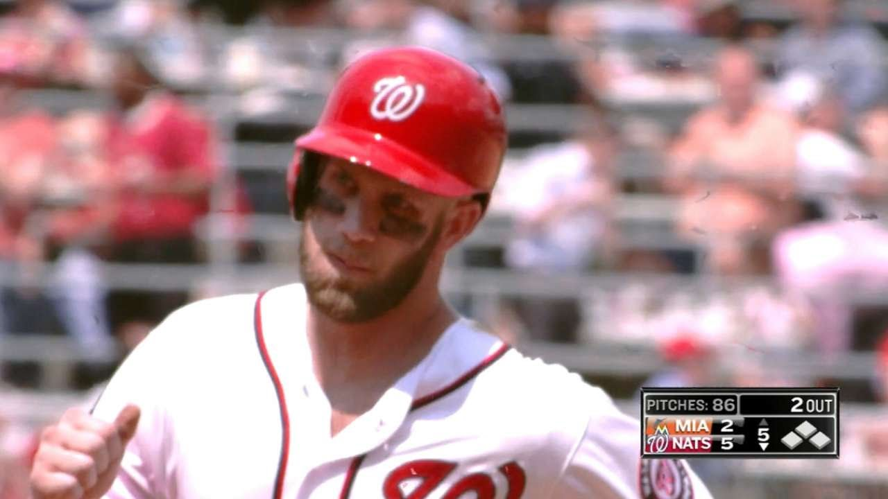 Bryce Harper launches 3 homers vs. the Marlins