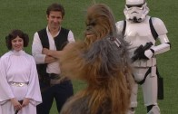Chewbacca tosses the first pitch at Fenway