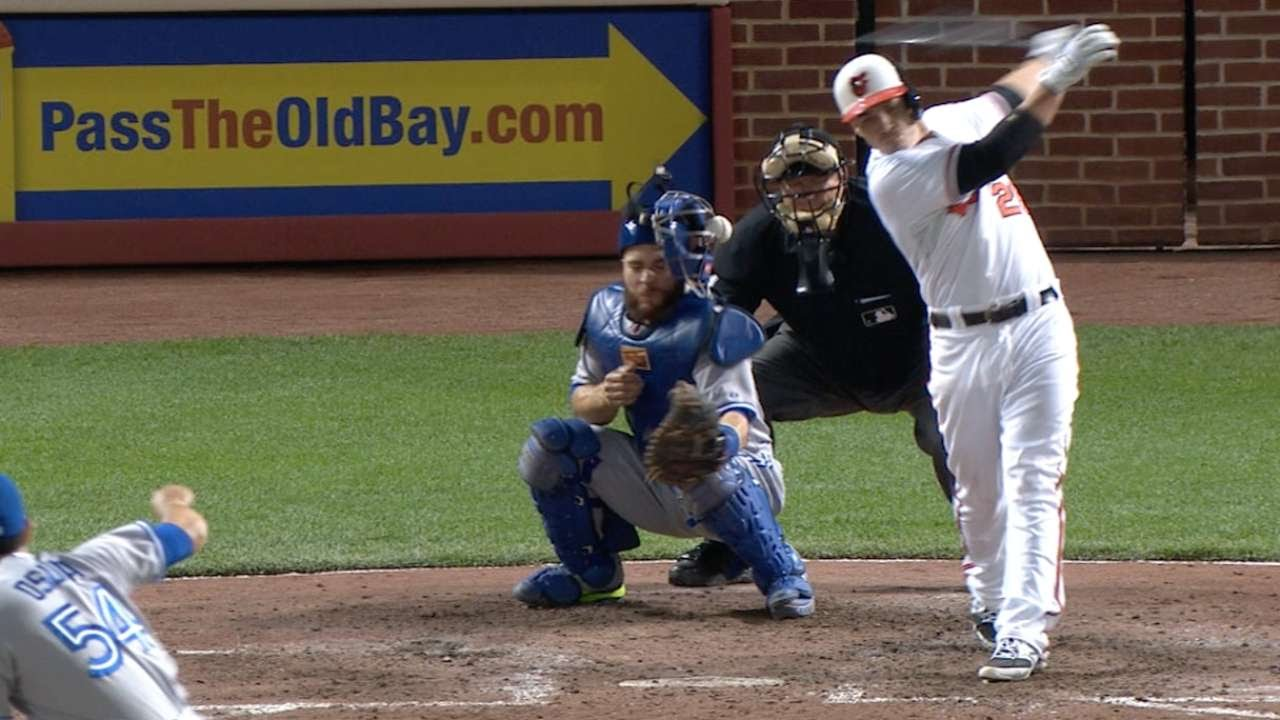 Foul ball gets caught in Russell Martin's mask