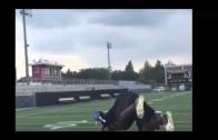 Four-star high school cornerback makes one handed back flip catch