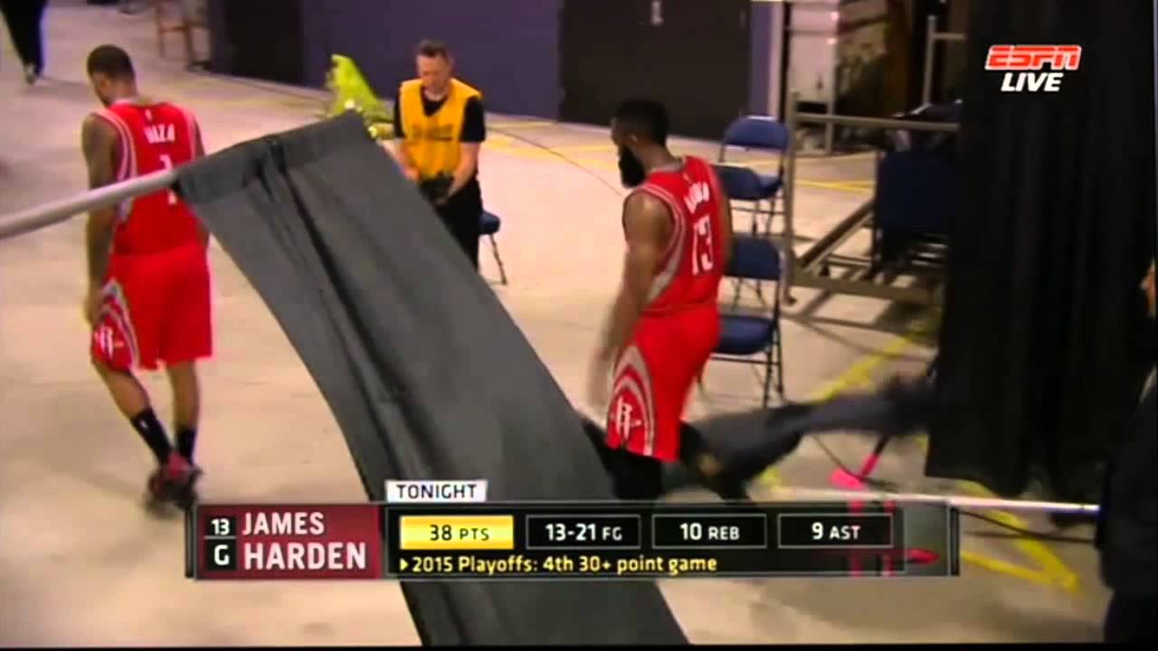 James Harden knocks over a curtain after Game 2 loss
