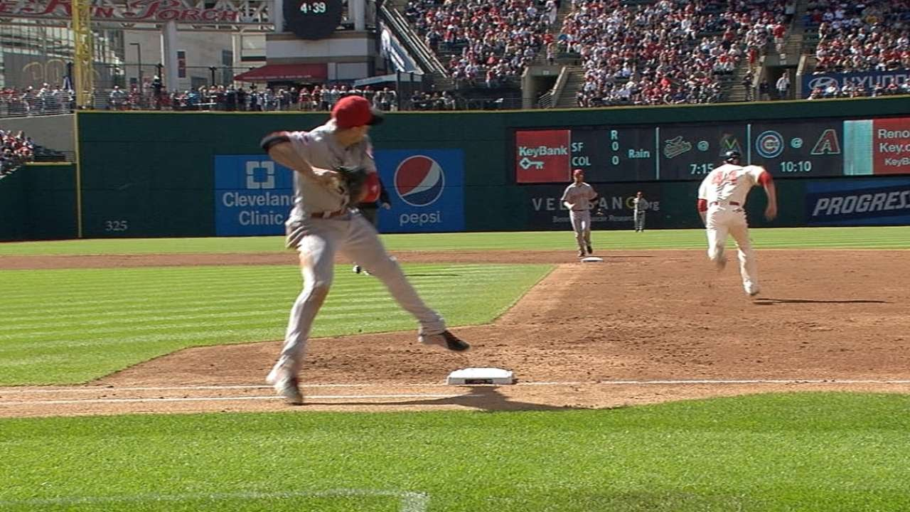 Joey Votto turns two with a nice flip throw