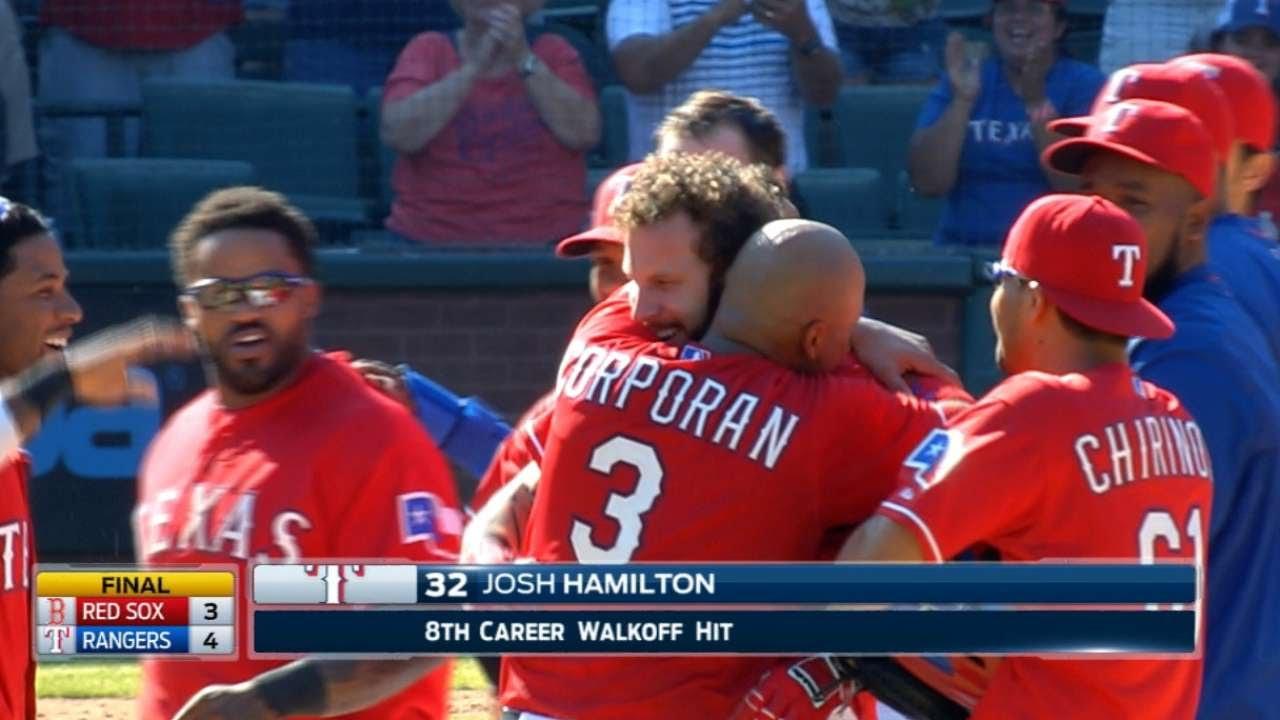 Josh Hamilton with a clutch pinch-hit walk off 2-run double