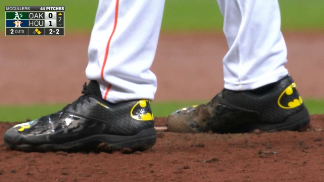 Lance McCullers wears cleats with the Batman emblem in his debut