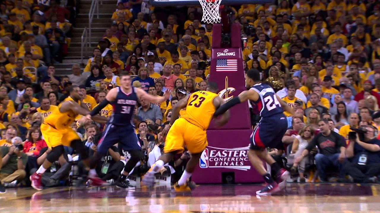 LeBron James drives for the major facial throwdown