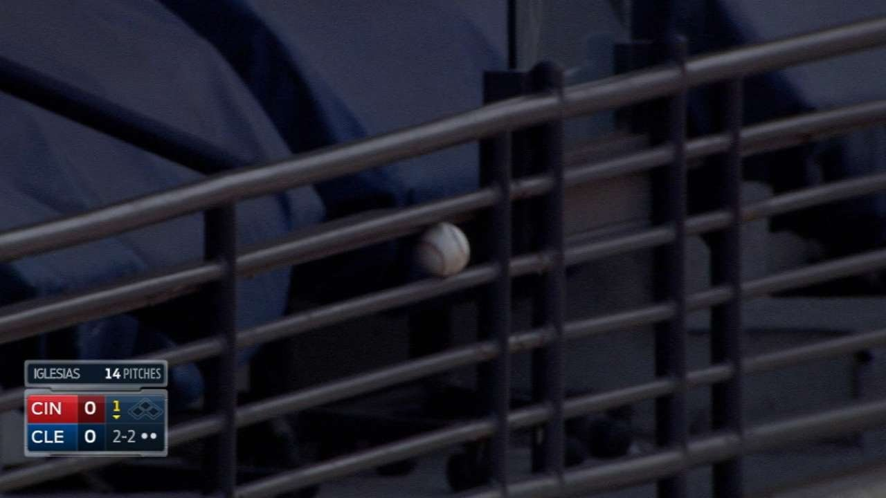 Michael Brantley hits a foul that wedges in a railing