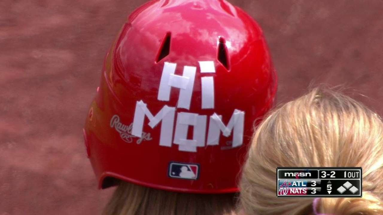 Nats' ballgirl wears Mother's Day helmet & makes a nice snag