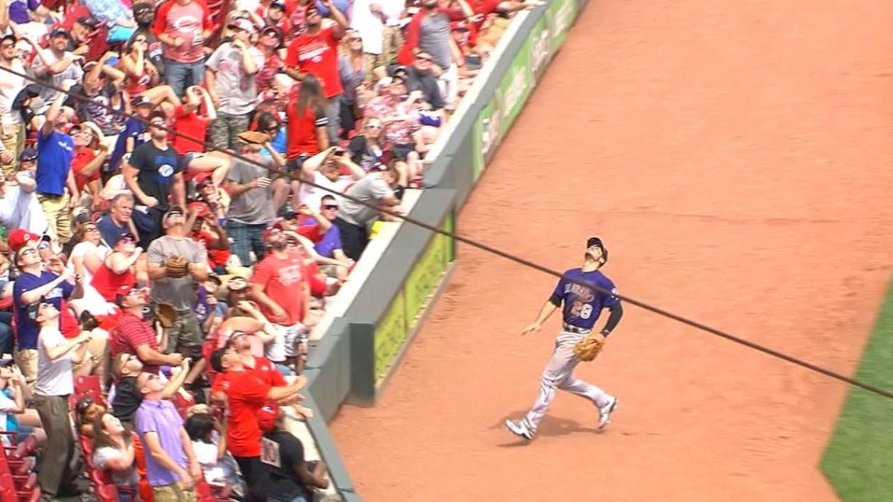 Nolan Arenado flips into stands for amazing catch