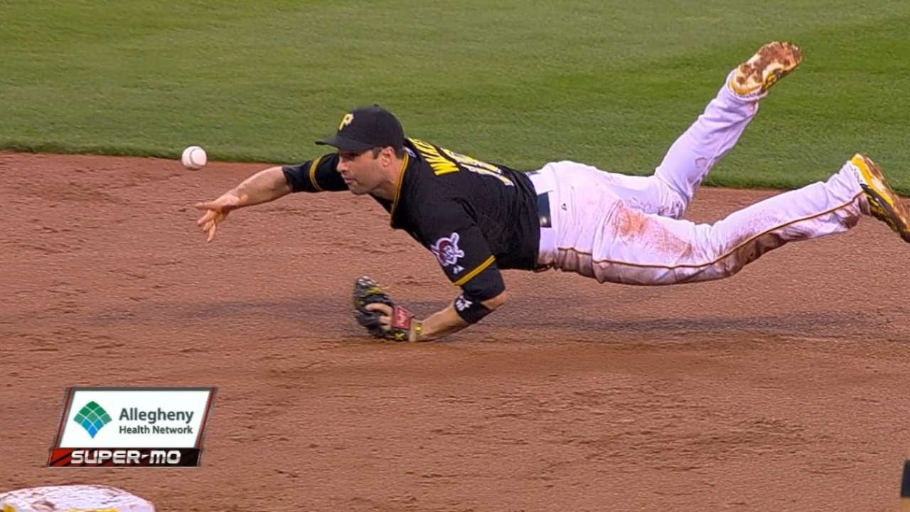 Pittsburgh Pirates infielders turn awesome double play