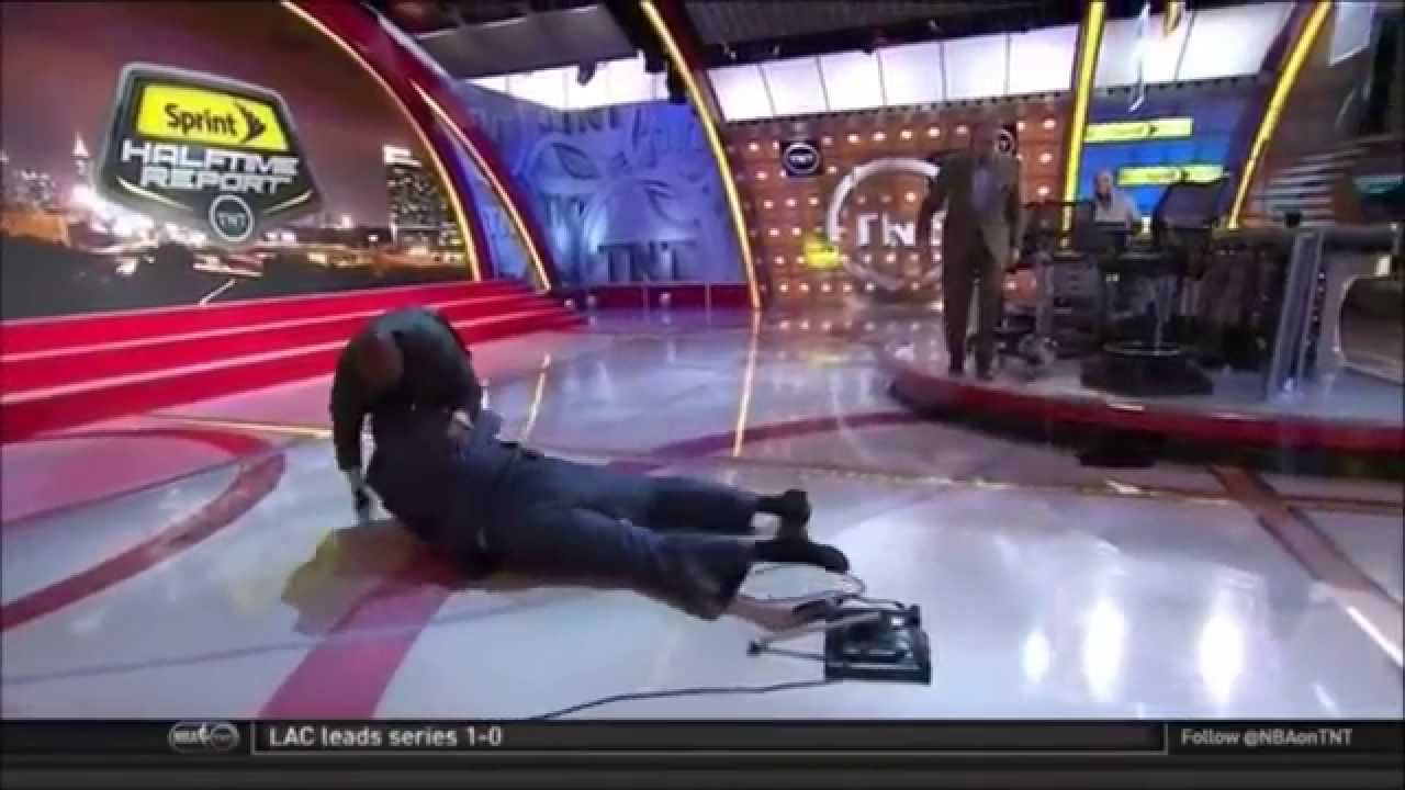 Shaquille O'Neal takes a hard spill on the set of Inside the NBA