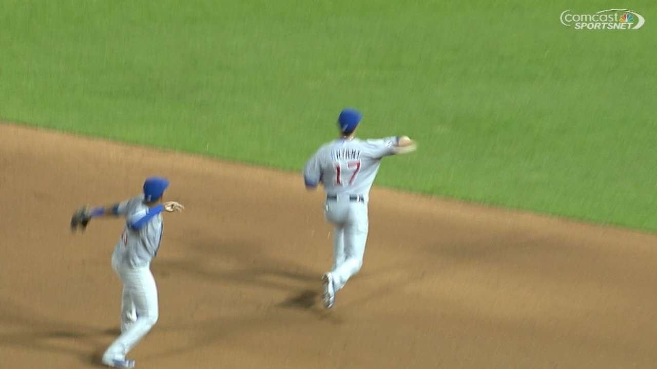Starlin Castro mimics Bryant as he makes the play