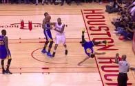 Steph Curry takes a nasty spill over Trevor Ariza