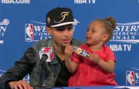 Stephen Curry brings out his daughter Riley for encore