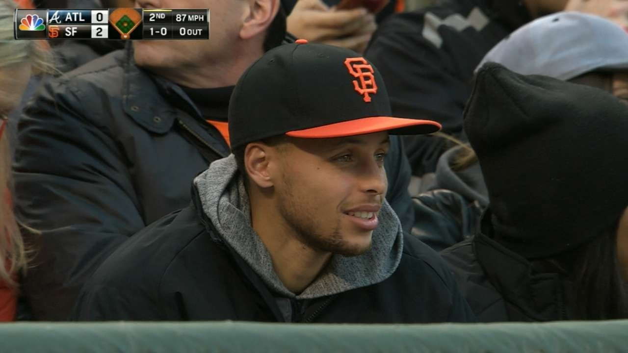 Stephen Curry in attendance at the San Francisco Giants game