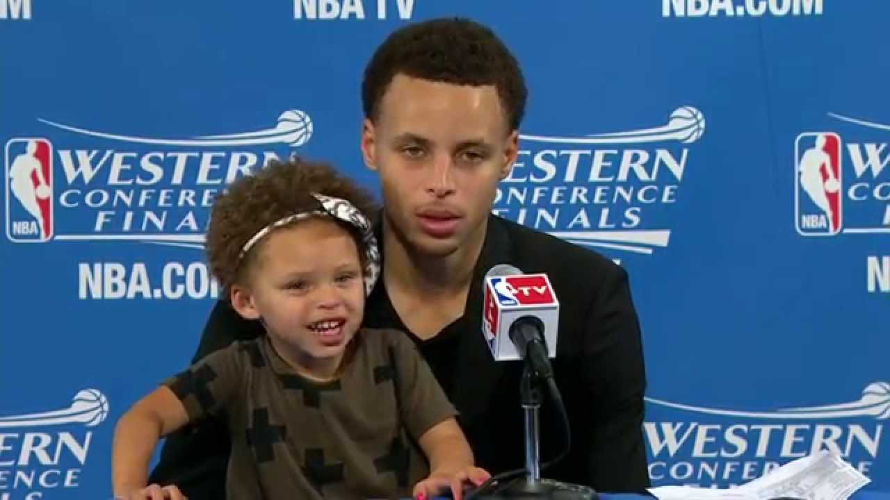 Warriors Stephen Curry & two year old daughter Riley press conference