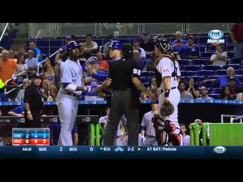 Benches clear after Junior Lake gestures Marlins bench after homer