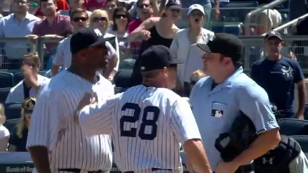 CC Sabathia ejected & gets in umpire's face