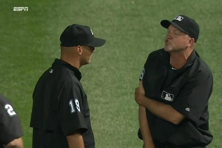 Umpire gets blindsided with an Aroldis Chapman fastball while warming up