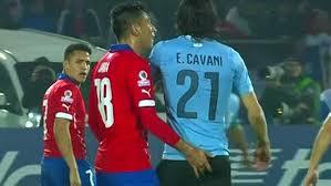 Chile's Gonzalo Jara sexually assualts Uruguay's Edinson Cavani