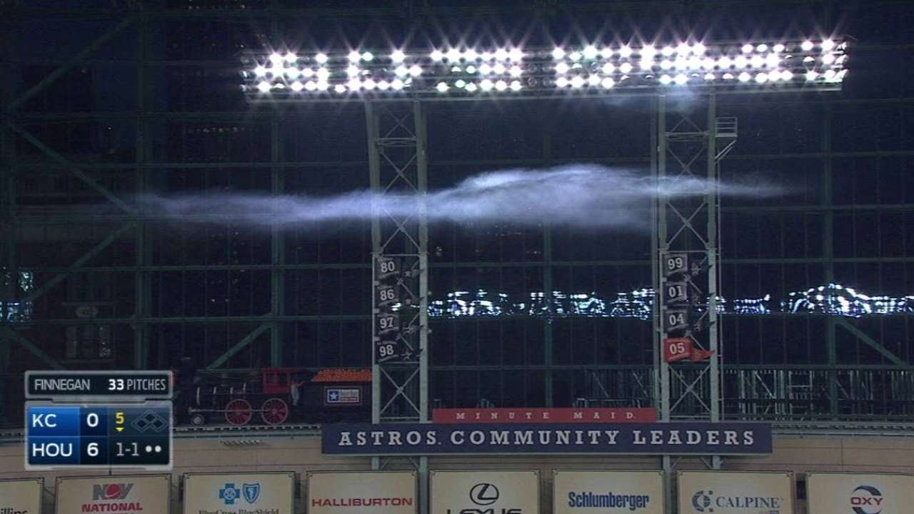 Firework smoke lingers in Astros' outfield