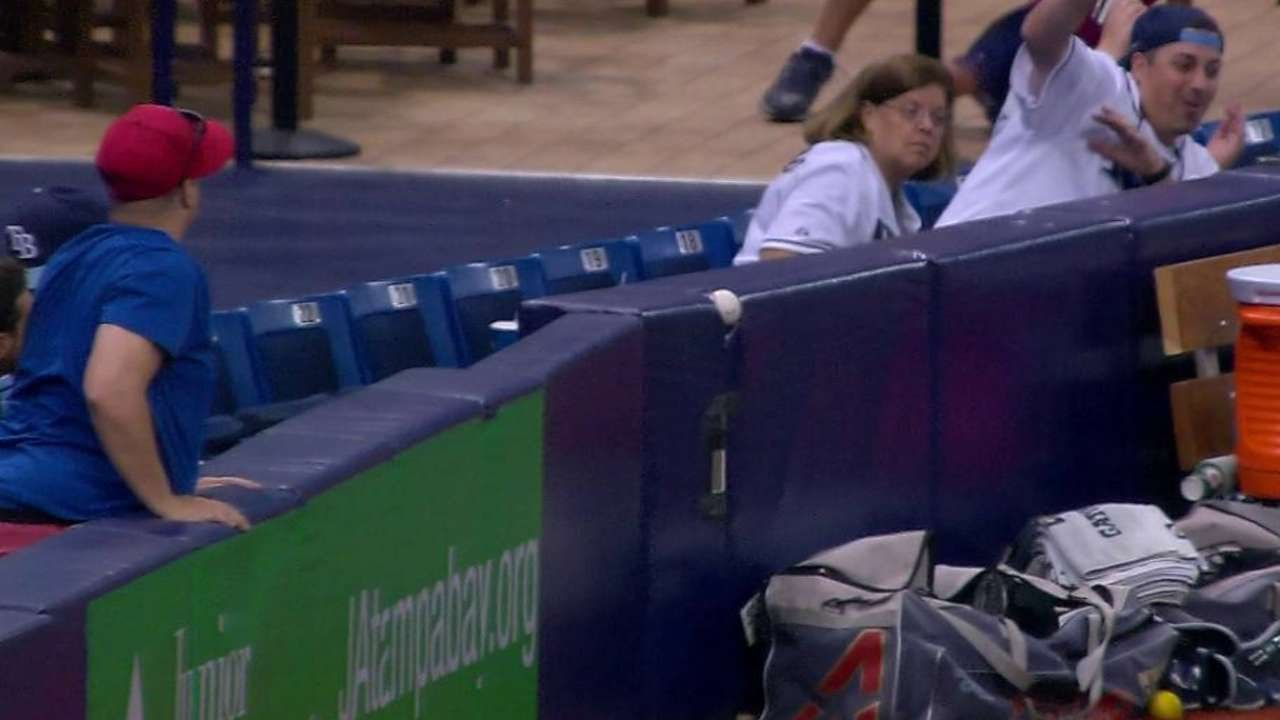 Foul ball near bullpen gets wedged in padding