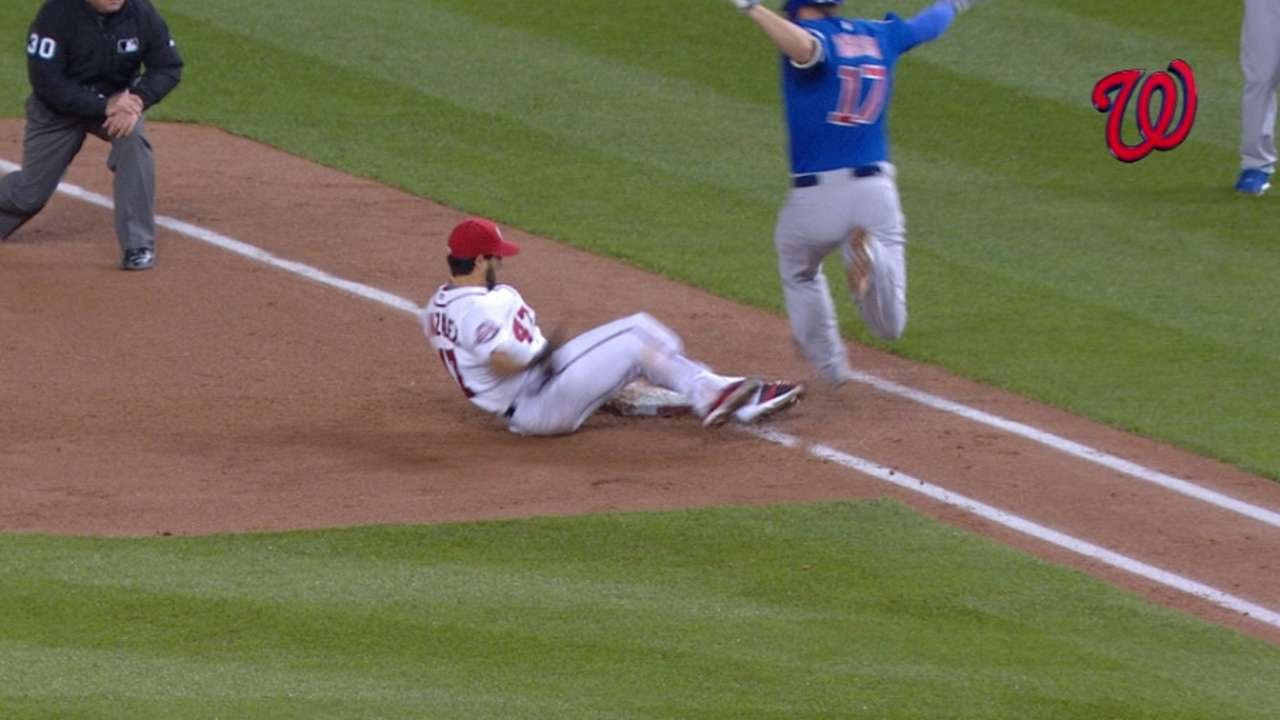 Gio Gonzalez tumbles & makes athletic play for the out